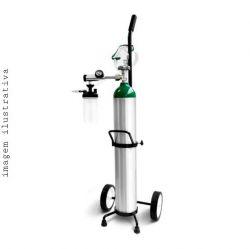 Kit Cilindro de Alumínio 4,6 litros para Oxigênio com Válvula, Fluxômetro, umidificador e Carrinho para transporte (Acompanha máscara de alta concentração de oxigênio e cateter).
